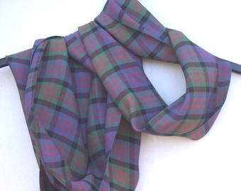 aeb4620ac2efe Beautiful vintage shiny fabric tartan scarf, MacDonald tartan, made in  Scotland, circa 1950's-60's