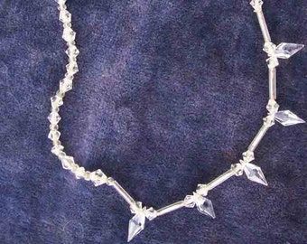 Vintage crystal glass necklace, beautiful, sparkly circa 1930's, further reduction. Sparkly wedding or prom necklace!
