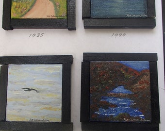 original mini oil paintings with easel