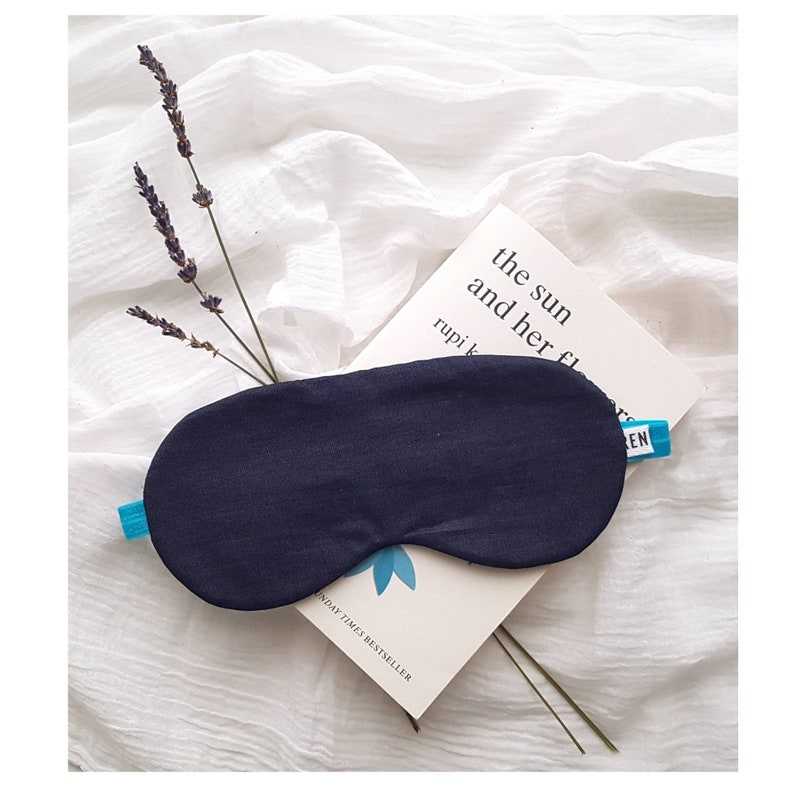 Dark denim chambray sleep mask