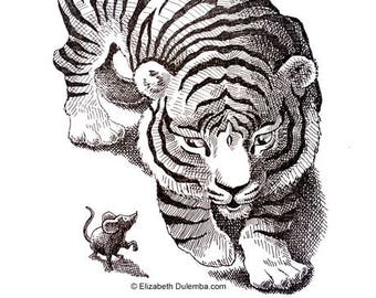 Tiger and Mouse Original Pen & Ink Drawing