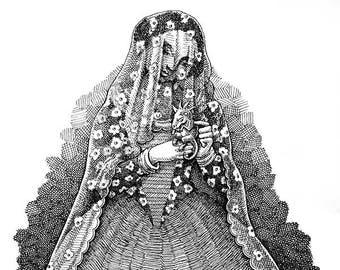 Spanish Lady Original Pen & Ink Drawing