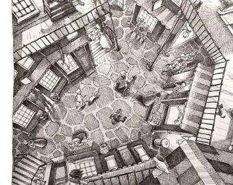Underground City Original Pen & Ink Drawing