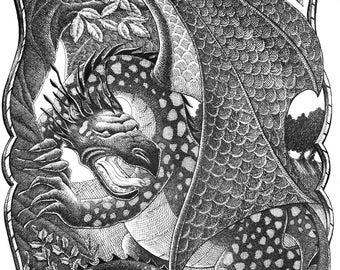 Dragon Original Pen & Ink Drawing