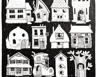 Home Sweet Home Original Pen & Ink Drawing