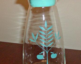 Vintage PYREX Apple Tree Aqua/Turquoise Glass Carafe w/Matching Lid