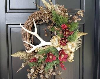 Christmas Antler Wreath-Christmas Antler Wreaths-Elegant Christmas Wreaths-Elegant Christmas Wreath-Woodland Christmas Wreath-Deer Antler
