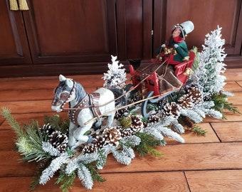 Sleigh Floral-Sleigh Centerpiece-Sleigh Arrangement-Christmas Sleigh Floral-Byer Caroler Horse-Byer Caroler-Christmas Centerpiece