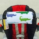 Car Seat ARM PAD Handle Wrap, Arm Cushion, Reversible - Preppy Alligator Blue Green, Infant Carrier, Cute Baby Gift, Arm Pad Cushion, Boy