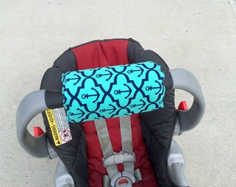 Car Seat ARM PAD Handle Cushion Wrap REVERSIBLE Cute Turquoise Navy Blue Anchors Baby Shower Gift Matching Straps Bib