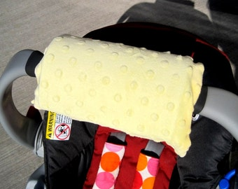 Car Seat ARM PAD Handle Wrap, Arm Pad Cushion, Reversible- Yellow Minky, Infant Carrier, Cute Baby Gift, Arm Pad Handle, Girl Boy Arm Pad