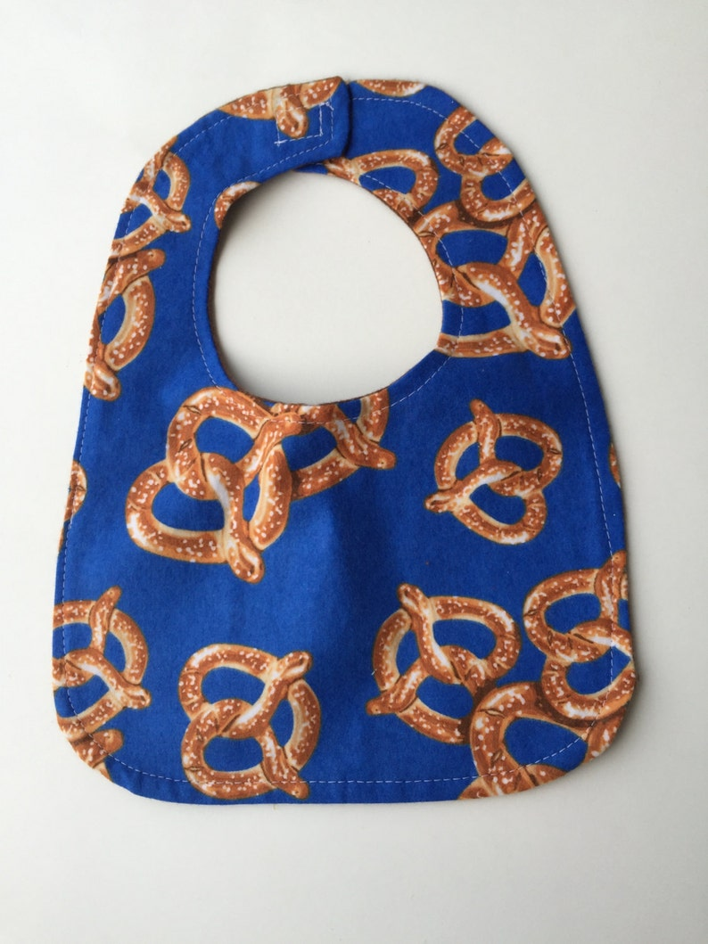 Reversible Infant Baby Bib Cute Pretzel Flannel Fabric Blue image 0