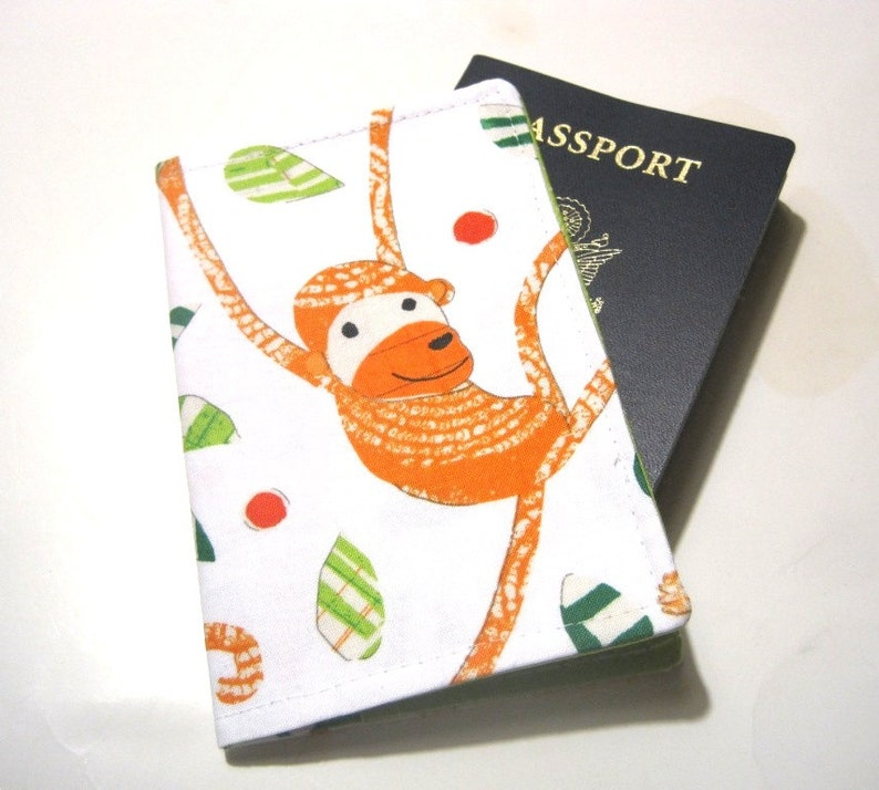 Cute Fabric Passport Cover Case Sleeve  Funky Monkey Orange image 0