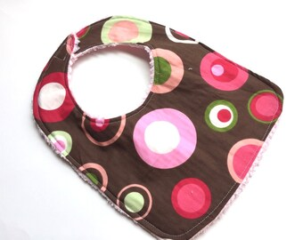 Reversible Baby Bib, Toddler Bib- Cute Pink Green Circles, Baby Shower Gift, Baby Gift, Feeding, Nursing, Baby Girl, Chenille