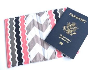 Passport Cover Passport Holder Passport Wallet Travel Passport Case Coupon Holder Cute Travel Gift Gray Grey Chevron Pink Kids Passport