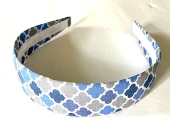 Fabric Covered Headband Blue Gray Grey headband Girls Headband Adult Headband Preppy Boutique Birthday Gift Stocking Stuffer