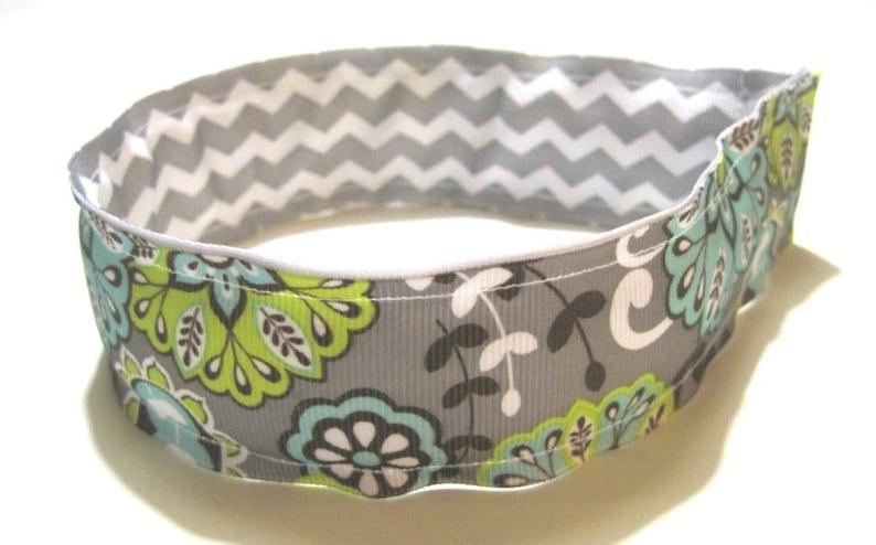 Preppy REVERSIBLE Headband Girl Headband Hairband Gray image 0