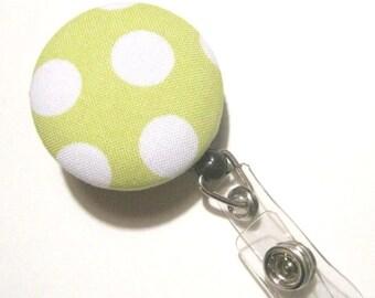 Retractable ID BADGE Reel Holder Name Tag Lanyard Nurse Teacher Gift Lime Green Polka Dots Cute Badge Reel Nursing School Graduation