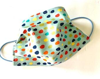 Adult Face Mask Reusable Face Mask,  Cotton Fabric Mask, Washable Face Mask, Cloth Face Mask Reversible Light Blue Polka Dots