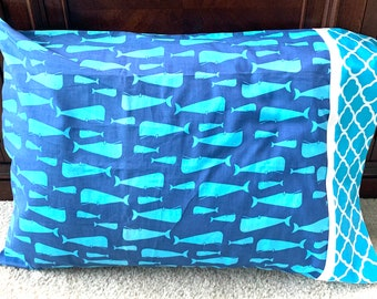 Whale Pillow Case Standard Bed Kids Pillowcase Guest Bedroom Bedding Turquoise Blue Nautical Whales