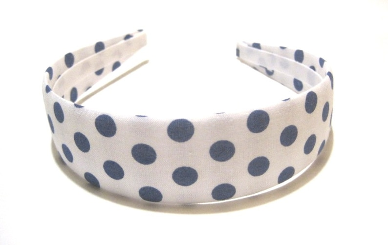 Fabric Covered Headband Blue White Polka Dots Girls Headband image 0