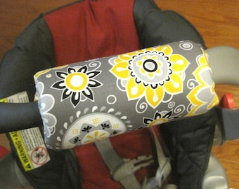 Car Seat ARM PAD Handle Wrap, Arm Cushion- Yellow Gray Flowers, Baby Shower Gift, Infant Carrier, Cute Baby Gift, Arm Pad Cushion, Girl