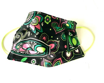Adult Face Mask Reusable Face Mask,  Cotton Fabric Mask, Washable Face Mask, Cloth Face Mask Reversible Black Pink Green Paisley