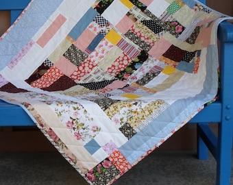 Handmade Modern Patchwork Baby Quilt Cotton Improv Scrappy Quilt