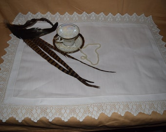 Antique 1910/'s English Butler/'s Cloth Butler Tray Cloth With Hand Made Linen Crochet Lace Inserts Irish Linen  17 12 x 23  CSBuTray03