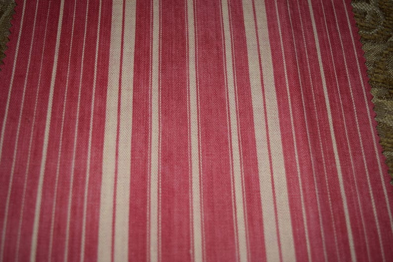 Bundle of Vintage French Ticking Fabric For Small Projects Crafts Reds with Yellows and Golds Bundle of  4 Pieces  Bun29 RedsYellows 4P