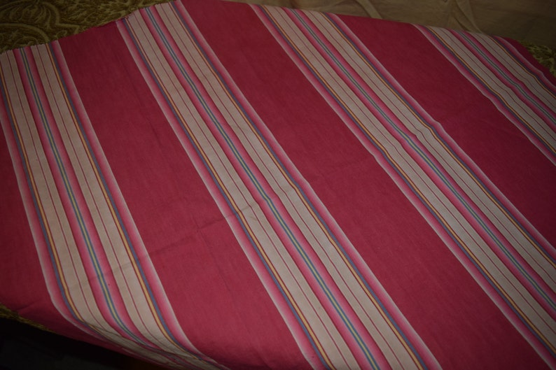 29 x 29 MPY8 427 A B Vintage 1920/'s French TickingUpholstery Fabric  2 Pieces in Stripes of  Red Pinks Tans Blue and Yellow  11 x 30