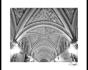 The Monroe Building Lobby Ceiling Black and White Fine Art Photograph, Wall Art, Room Decor, Chicago Michigan Ave Image, Architecture Photo