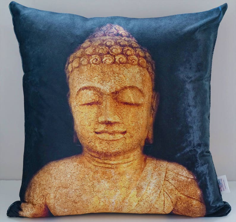 Buddha Statue Throw Pillow Cover 20 X 20 Crushed Velvet Home Etsy