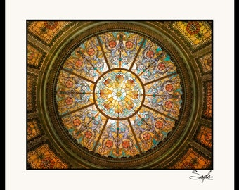 Healy and Millet Stained Glass Dome Ceiling in Chicago Cultural Center Fine Art Photograph, Wall Art, Architecture Print, Chicago Image