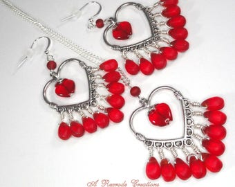 Red Heart Jewelry Set with Candy Red Earrings and Necklace Tear Drop Womens Gift for Her Mom Girlfriend Friend Fashion Trendy Novelty