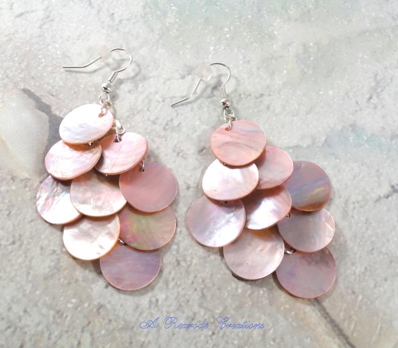 Pastel Pink Summer Shell Earrings Cascading Earrings Chandelier Earrings Mussel Shell Earrings Beach Summer Waterfall Earrings  Gift for her