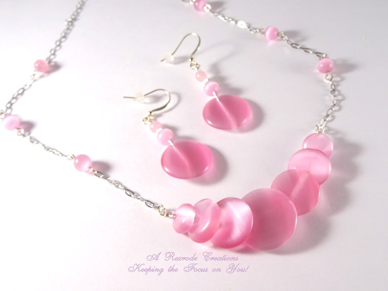 Pink Necklace and Earrings Beaded Cats Eye Jewelry Set Handmade Artisan Design Womens Unique Gift Idea for Her Girlfriend Friend Aunt Mom