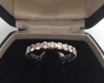 SALE 14K White Gold Vintage Diamond Eternity Wedding Ring 1.80 Cts., Genuine Diamonds Circa 1960. Appraisal With Purchase