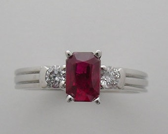 PRE Christmas SALE 20% Off Ruby and Diamond Ring 14K White Gold One Of A Kind Made In America Appraisal Will Accompany Purchase