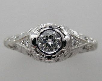 SALE PRICE 18K White Gold Natural Genuine Diamond Ring Filigree 0.28 Ct. G Color VS Clarity Appraisal Accompanies Purchase