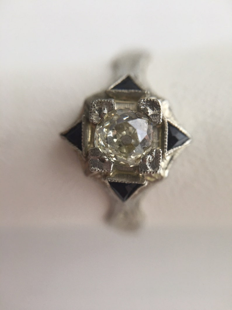 Authentic Antique Gold Diamond Engagement Ring Old Mine 0.55 image 0