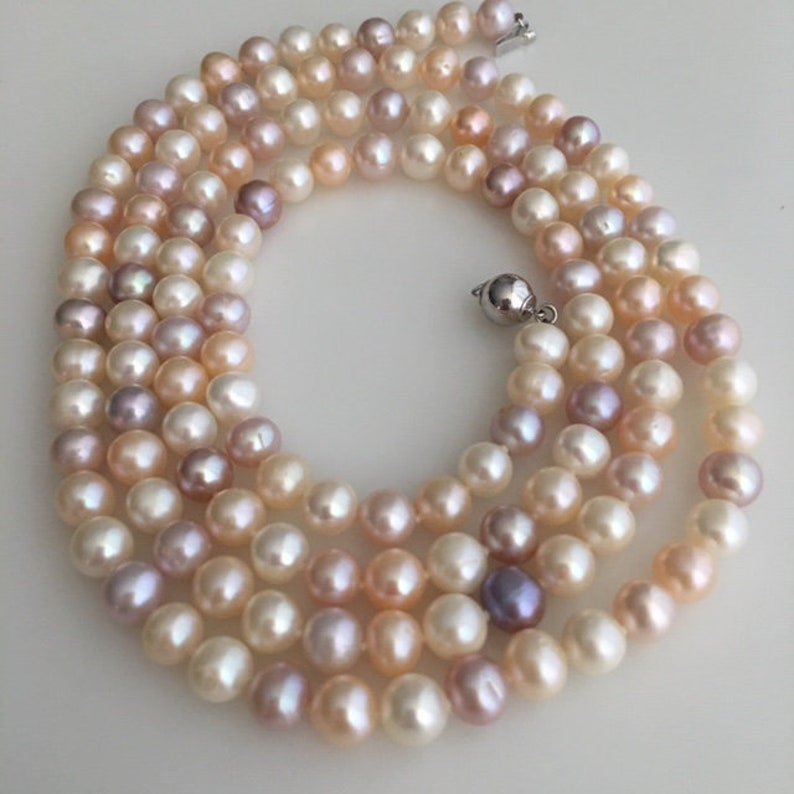 Special Cultured Pearl Necklace  Multi Color Strung on Silk image 0