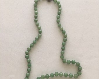 OCTOBER SALE Vintage Chinese Green Jade Necklace 26 Inches Long With Vintage Silver Clasp 57 Natural Jade Drilled Round Beads 9 to 10 MM