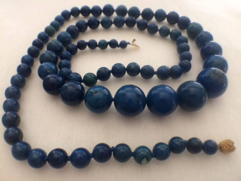 Pre-Christmas SaleVintage Natural Lapis Graduated Necklace 31 12 Inches 16MM to 5.5 MM