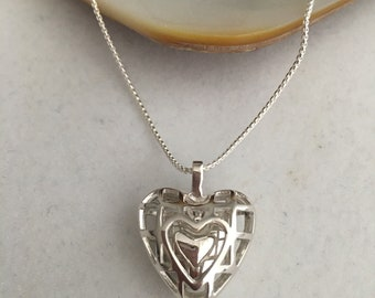 """Heart Within A Heart Sterling Silver Heart Within A Heart Necklace Pendant Made In America With 24"""" Long Chain"""