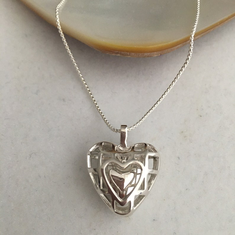 Sterling Silver Open Puffed Heart Within A Heart Pendant Made image 0