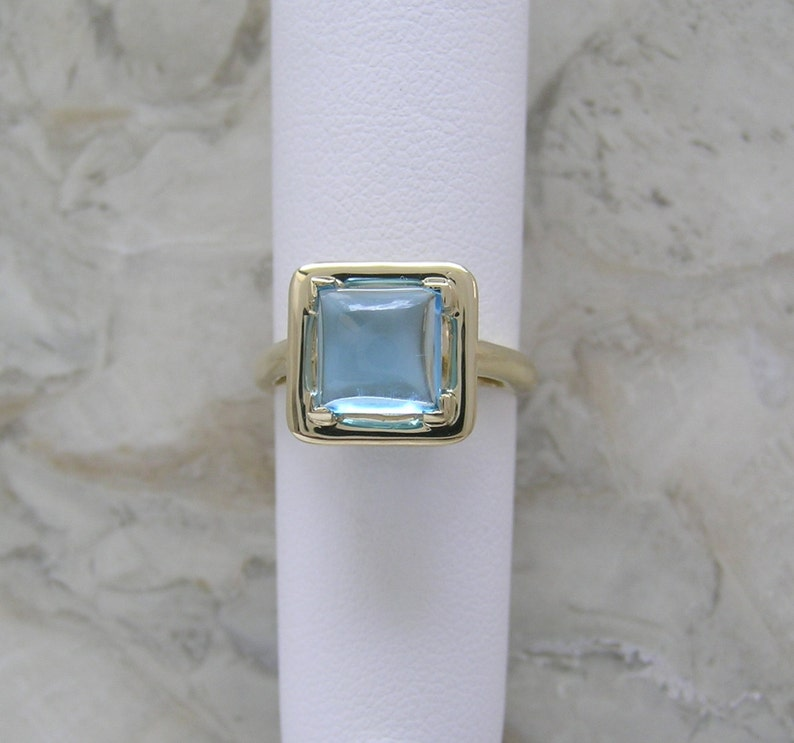 Reduce Price 14K Natural Blue Topaz Ring Custom Made One Of A image 0