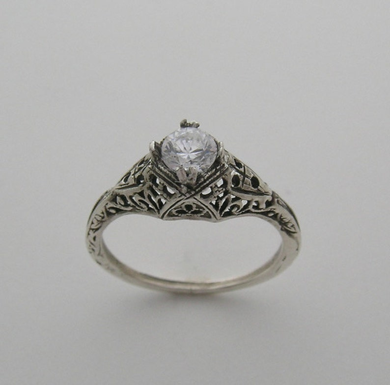 Vintage Style Old Mine Cut Diamond Filigree Ring 14K White image 0