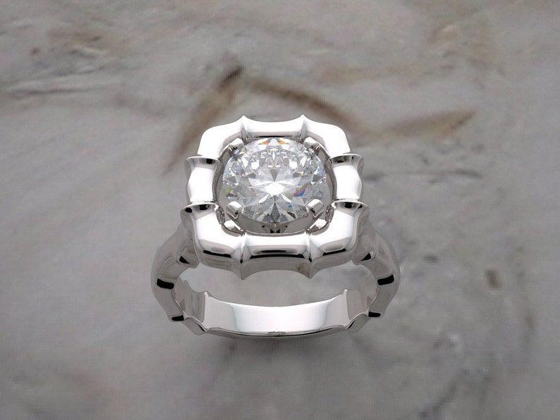 Engagement Ring Setting Classic Bamboo Design 14K Gold image 0