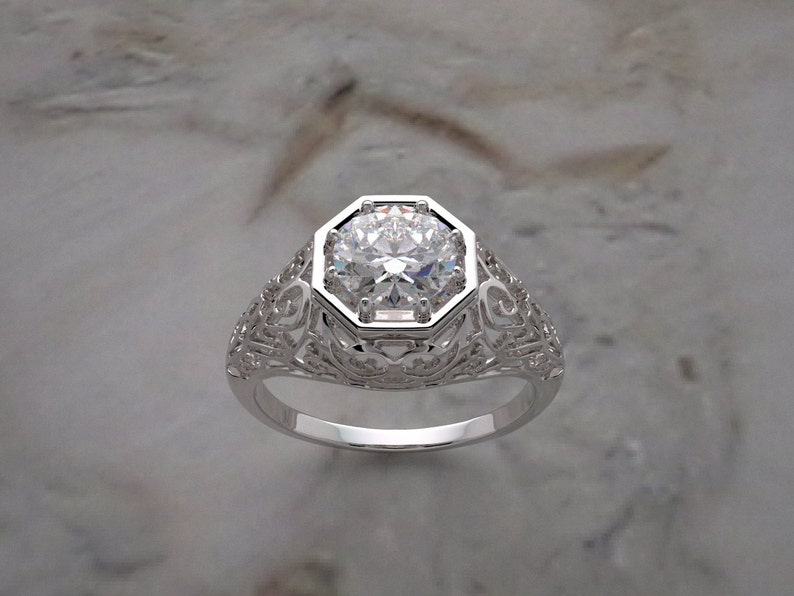 Engagement Ring Setting Antique Deco Styling With Filigree image 0